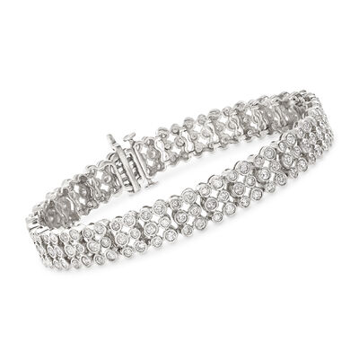 5.00 ct. t.w. Bezel-Set Diamond Three-Row Bracelet in 14kt White Gold, , default