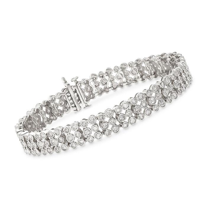 "5.80 ct. t.w. Bezel-Set Diamond Three-Row Bracelet in 14kt White Gold. 8"", , default"