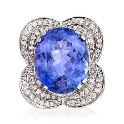 18.00 Carat Tanzanite and .87 ct. t.w. Diamond Flower Ring in 18kt White Gold, , default