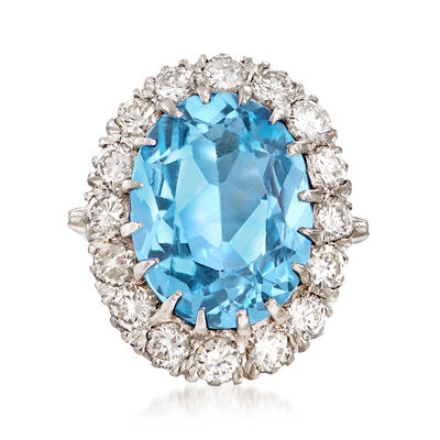 C. 1960 Vintage 9.00 Carat Synthetic Blue Spinel and 2.00 ct. t.w. Diamond Ring in 14kt White Gold, , default