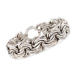 Sterling Silver Rosette-Link Bracelet, , default