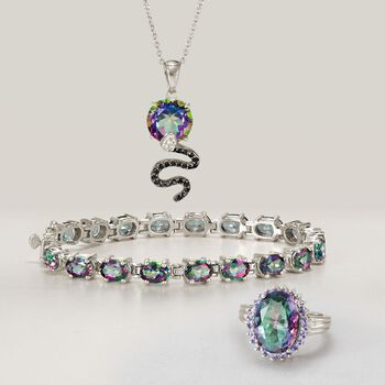 3.50 Carat Multicolored Quartz and Black Spinel Snake Necklace With White Topaz in Sterling Silver, , default