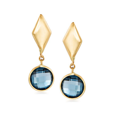 Italian 2.00 ct. t.w. London Blue Topaz Drop Earrings in 14kt Yellow Gold, , default