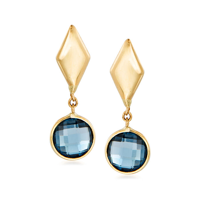 Italian 2.00 ct. t.w. London Blue Topaz Drop Earrings in 14kt Yellow Gold