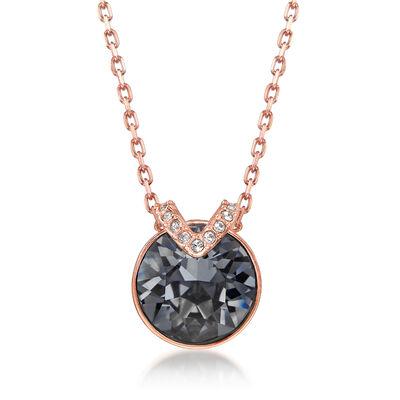 """Swarovski Crystal """"Bella"""" Gray Crystal V-Shape Necklace in Rose Gold Plate , , default"""