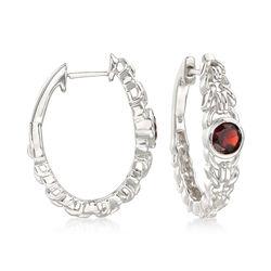1.10 ct. t.w. Garnet Interlocking Link Hoop Earrings in Sterling Silver, , default