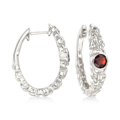 1.10 ct. t.w. Garnet Interlocking Link Hoop Earrings in Sterling Silver, , default