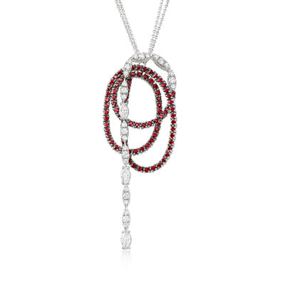 C. 2000 Vintage Stefan Hafner 2.54 ct. t.w. Ruby and 2.12 ct. t.w. Diamond Swirl Necklace in 18kt White Gold, , default