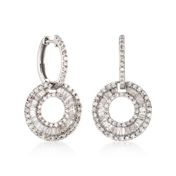 2.20 ct. t.w. Diamond Hoop Drop Earrings With Removable Circles in 14kt White Gold, , default