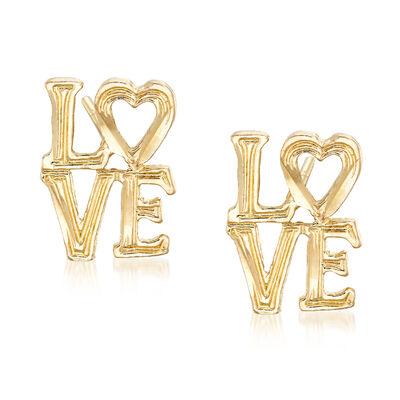 """""""Love"""" Stud Earrings in 14kt Yellow Gold, , default"""