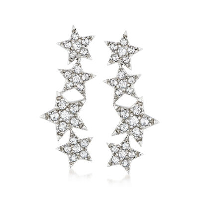 2.20 ct. t.w. White Topaz Star Ear Climbers in Sterling Silver, , default