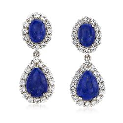 Lapis and 2.20 ct. t.w. White Topaz Double Drop Earrings in Sterling Silver, , default