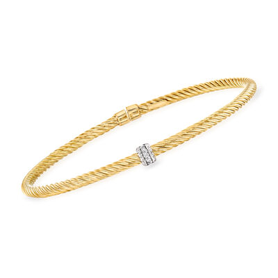 "Phillip Gavriel ""Italian Cable"" .10 ct. t.w. Diamond Cuff Bracelet in 14kt Yellow Gold"