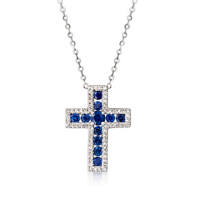 .80 ct. t.w. Sapphire and .17 ct. t.w. Diamond Cross Necklace in 14kt White Gold