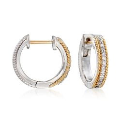 "Andrea Candela ""Mantilla"" Sterling Silver and 18kt Yellow Gold Huggie Hoop Earrings With Diamond Accents. 1/2"", , default"