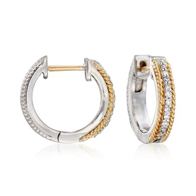 "Andrea Candela ""Mantilla"" Sterling Silver and 18kt Yellow Gold Huggie Hoop Earrings with Diamond Accents, , default"