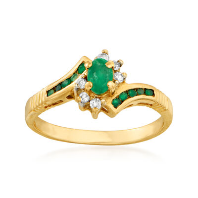 C. 1980 Vintage .45 ct. t.w. Emerald and .10 ct. t.w. Diamond Ring in 14kt Yellow Gold, , default