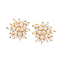 Italian 4.5-5mm Cultured Pearl Cluster Earrings in 18kt Yellow Gold Over Sterling, , default