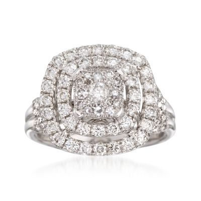 1.50 ct. t.w. Diamond Double Halo Ring in 14kt White Gold