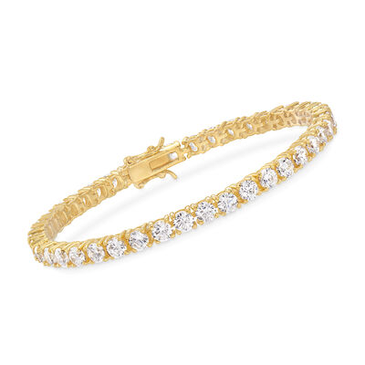 10.00 ct. t.w. CZ Tennis Bracelet in 14kt Gold Over Sterling, , default