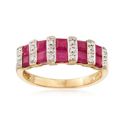 C. 1990 Vintage 1.50 ct. t.w. Ruby Ring with Diamond Accents in 14kt Yellow Gold, , default