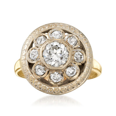 C. 1950 Vintage .95 ct. t.w. Diamond Floral Cluster Ring in 14kt Yellow Gold