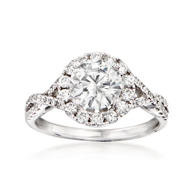 1.93 ct. t.w. Certified Diamond Halo Twist Engagement Ring in 14kt White Gold