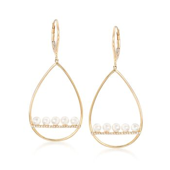 3.5mm Cultured Pearl and .10 ct. t.w. Diamond Teardrop Earrings in 14kt Yellow Gold, , default