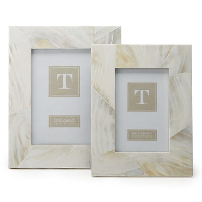 """Ocean Sand"" Set of Two Mother-Of-Pearl Photo Frames"