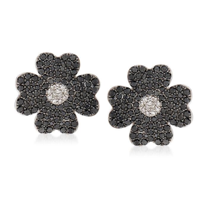 4.67 ct. t.w. Black and White Diamond Flower Earrings in 18kt White Gold, , default