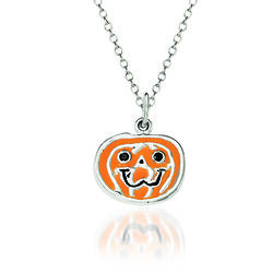 """Sterling Silver and Multicolored Enamel Pumpkin Charm Necklace. 18"""", , default"""