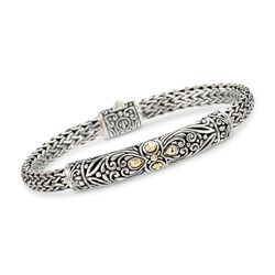 Balinese Sterling Silver and 18kt Yellow Gold Bracelet, , default