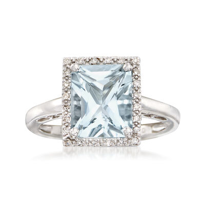 2.80 Carat Aquamarine Ring with Diamond Halo Accent in 14kt White Gold, , default