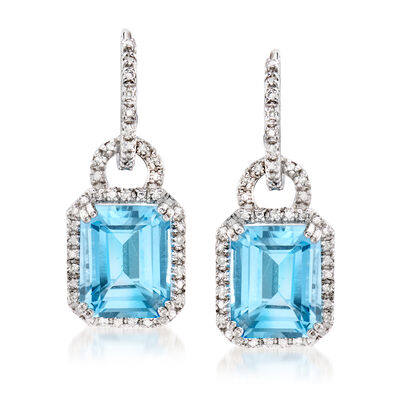 7.75 ct. t.w. Sky Blue Topaz and .21 ct. t.w. Diamond Earrings in Sterling Silver