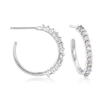 ".50 ct. t.w. Diamond Hoop Earrings in Sterling Silver. 5/8"", , default"