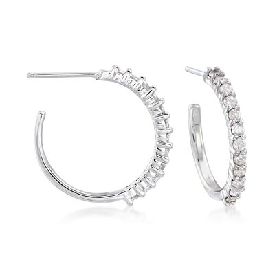 .50 ct. t.w. Diamond Hoop Earrings in Sterling Silver, , default