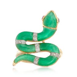Green Jade Snake Ring With Diamond and Ruby Accents in 14kt Yellow Gold, , default
