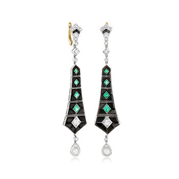 C. 1930 Vintage Black Onyx, 1.10 ct. t.w. Diamond and .80 ct. t.w. Emerald Earrings in Platinum with 14kt Yellow Gold, , default