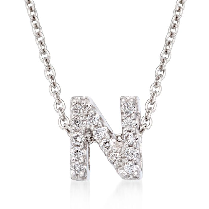 "Roberto Coin ""Love Letter"" Diamond Accent Initial ""N"" Necklace in 18kt White Gold"