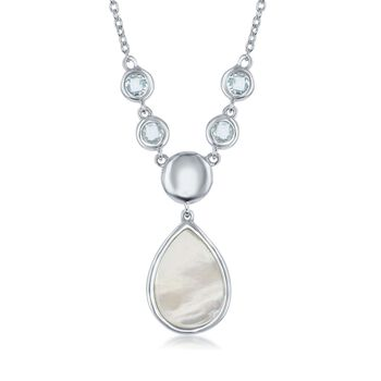 """Mother-Of-Pearl and .70 ct. t.w. Blue Topaz Drop Necklace in Sterling Silver. 16"""", , default"""