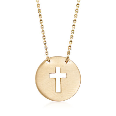 14kt Yellow Gold Cutout Cross Disc Necklace, , default