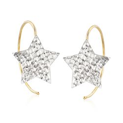 Italian 14kt Two-Tone Gold Diamond-Cut Star Earrings, , default