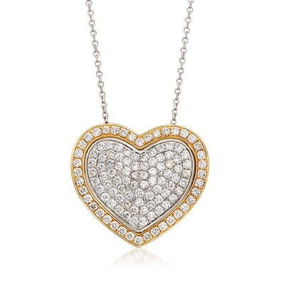 2.10 ct. t.w. Pave Diamond Heart Pendant Necklace in 14kt Two-Tone Gold, , default