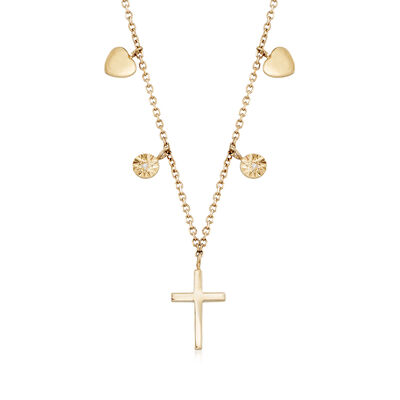 14kt Yellow Gold Cross Necklace with Diamond Accents, , default