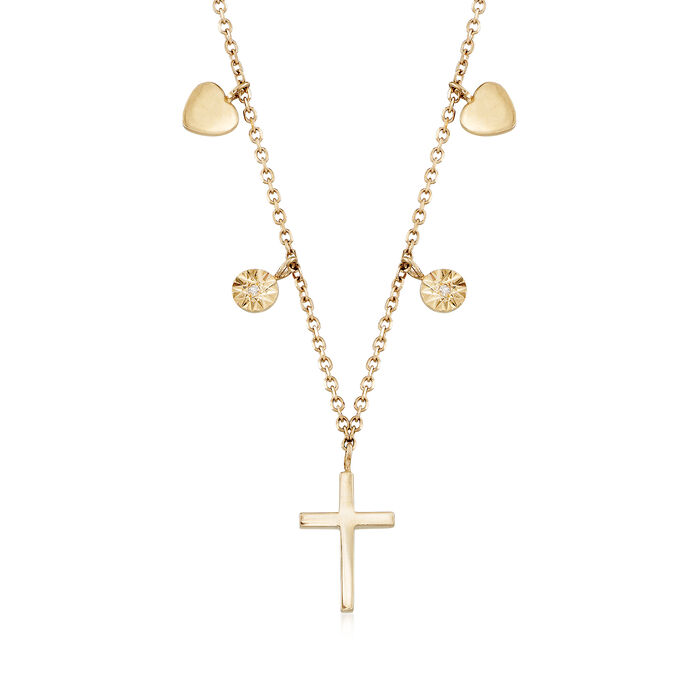 """14kt Yellow Gold Cross Necklace with Diamond Accents. 16"""", , default"""