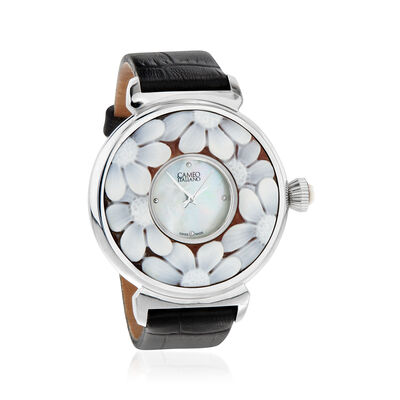 Italian Women's Mother-Of-Pearl and Flower Shell Cameo 38mm Stainless Steel Watch