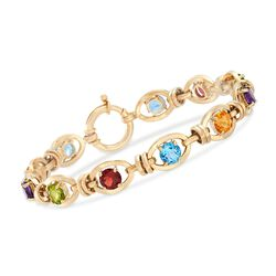 8.70 ct. t.w. Multi-Stone Link Bracelet in 14kt Yellow Gold, , default