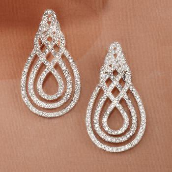 1.00 ct. t.w. Diamond Swirl Drop Earrings in Sterling Silver, , default
