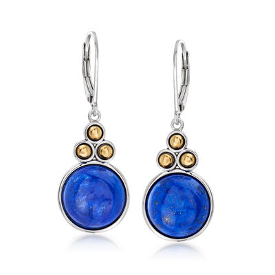 Lapis Drop Earrings in Sterling Silver with 14kt Yellow Gold