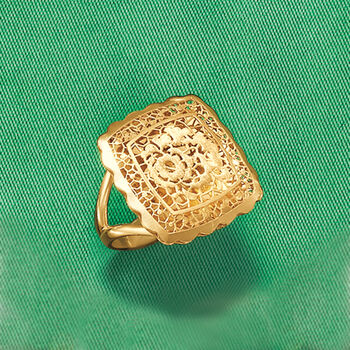 Italian 18kt Yellow Gold Floral Openwork Square-Top Ring, , default